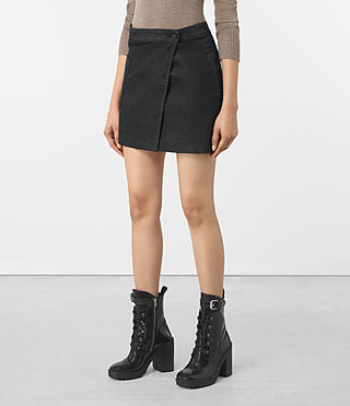 Femmes Ruth Denim Skirt (Black) - product_image_alt_text_2
