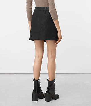 Femmes Ruth Denim Skirt (Black) - product_image_alt_text_3