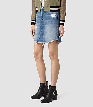 Mujer Distressed Denim Skirt (Indigo Blue) - product_image_alt_text_3