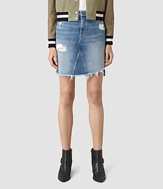 Mujer Distressed Denim Skirt (Indigo Blue) - product_image_alt_text_4