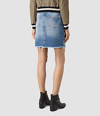 Mujer Distressed Denim Skirt (Indigo Blue) - product_image_alt_text_5