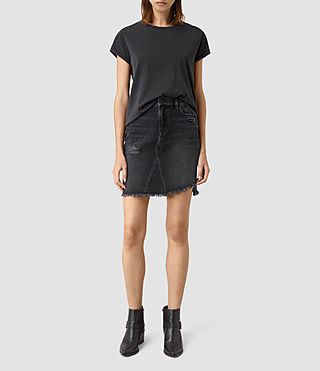 Womens Distressed Denim Skirt (Washed Black)