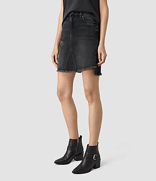 Damen Distressed Denim Skirt (Washed Black) - product_image_alt_text_3