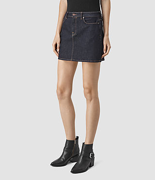 Womens Ace Mini Denim Skirt (Rinse Wash) - product_image_alt_text_3