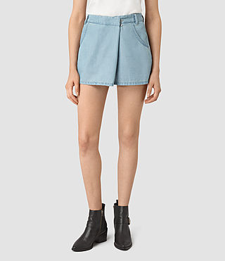 Damen Annett Folded Mini Skirt (LIGHT INDIGO BLUE)