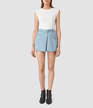 Mujer Annett Folded Mini Skirt (LIGHT INDIGO BLUE) - product_image_alt_text_2