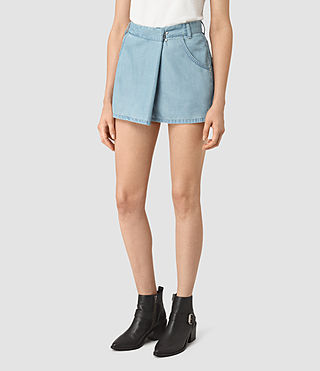 Mujer Annett Folded Mini Skirt (LIGHT INDIGO BLUE) - product_image_alt_text_3