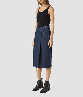 Womens Annett Folded Skirt (DARK INDIGO BLUE)