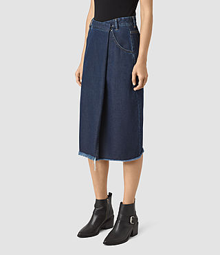 Women's Annett Folded Skirt (DARK INDIGO BLUE) - product_image_alt_text_2