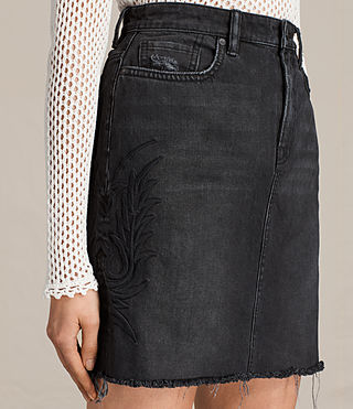 Womens Philly Embroidered Denim Skirt (Washed Black) - product_image_alt_text_2