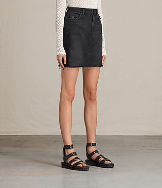 Womens Philly Embroidered Denim Skirt (Washed Black) - product_image_alt_text_3