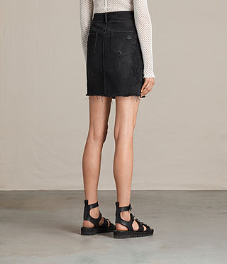 Womens Philly Embroidered Denim Skirt (Washed Black) - product_image_alt_text_4