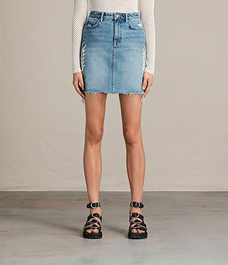 Womens Philly Embroidered Denim Skirt (Indigo Blue)