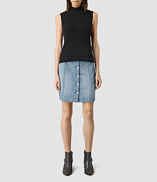 Damen June Denim Skirt (Indigo Blue) -