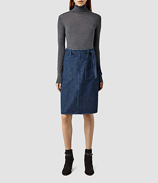 Womens Stilla Denim A-line Skirt (Dark Blue)