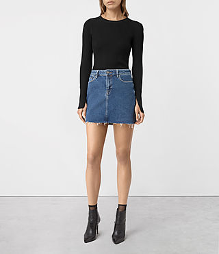 Damen Ace Denim Mini Skirt (MID INDIGO BLUE)