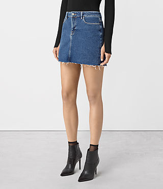 Womens Ace Denim Mini Skirt (MID INDIGO BLUE) - product_image_alt_text_2