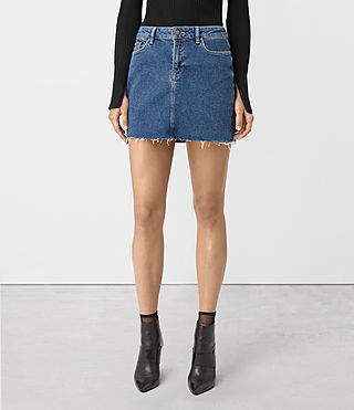 Womens Ace Denim Mini Skirt (MID INDIGO BLUE) - product_image_alt_text_3