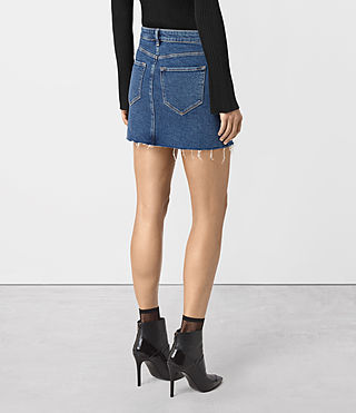 Womens Ace Denim Mini Skirt (MID INDIGO BLUE) - product_image_alt_text_4
