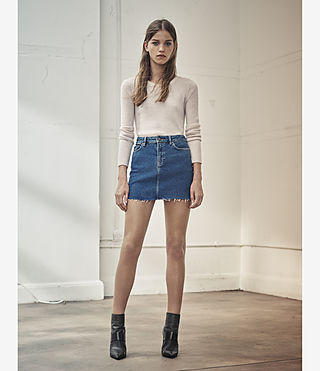 Womens Ace Denim Mini Skirt (MID INDIGO BLUE) - product_image_alt_text_5