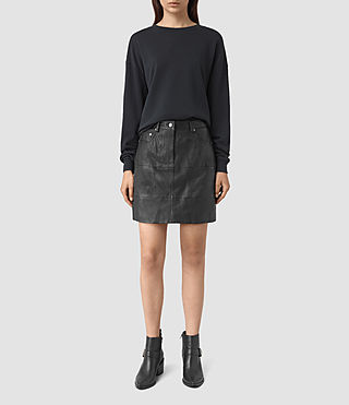 Womens Routledge Leather Skirt (Black)