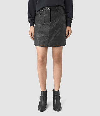Femmes Routledge Leather Skirt (Black) - product_image_alt_text_2