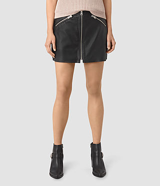 Women's Titherley Leather Skirt (Black) - product_image_alt_text_2