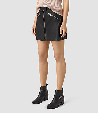 Women's Titherley Leather Skirt (Black) - product_image_alt_text_3