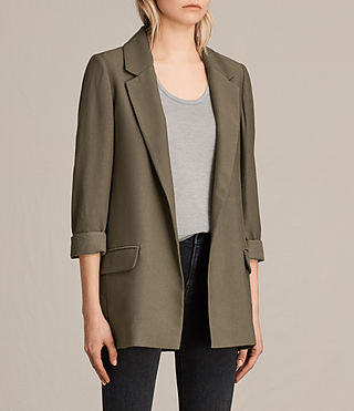 Womens Aleida Blazer (Khaki Green) - product_image_alt_text_2