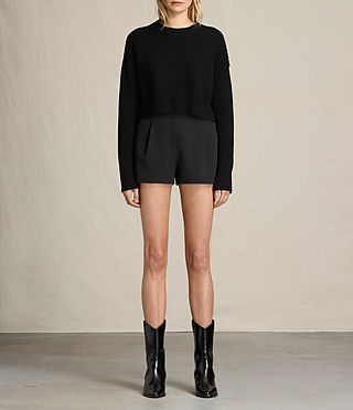 Damen Ivy Rib Shorts (Black)