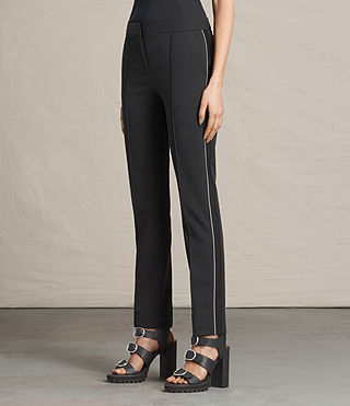 Mujer Ivy Rib Trousers (Black) - product_image_alt_text_3