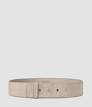 Donne Mimosa Croc Leather Waist Belt (Light Grey)