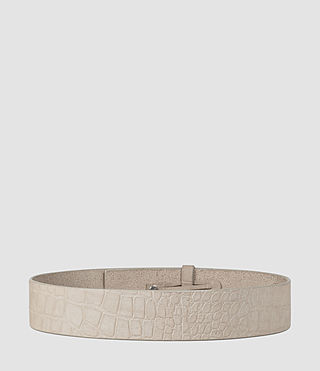 Womens Mimosa Croc Leather Waist Belt (Light Grey) - product_image_alt_text_3