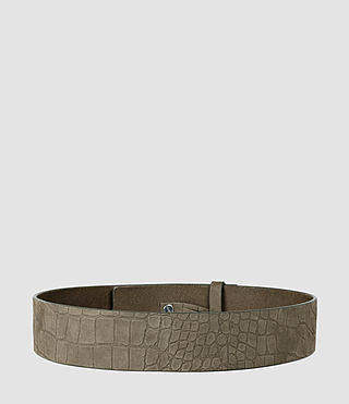 Womens Mimosa Croc Leather Waist Belt (Dark Khaki) - product_image_alt_text_2