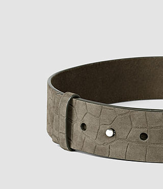 Womens Mimosa Croc Leather Waist Belt (Dark Khaki) - product_image_alt_text_3