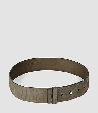 Womens Mimosa Croc Leather Waist Belt (Dark Khaki) - product_image_alt_text_4