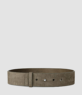 Donne Mimosa Croc Leather Waist Belt (Dark Khaki Green)