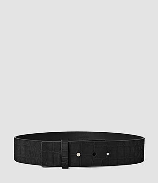 Donne Mimosa Croc Leather Waist Belt (Black)