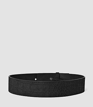 Femmes Mimosa Croc Leather Waist Belt (Black) - product_image_alt_text_2