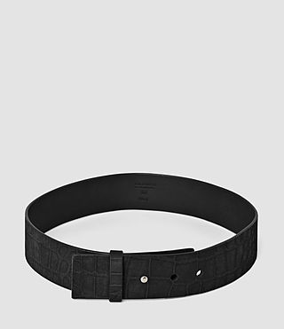 Femmes Mimosa Croc Leather Waist Belt (Black) - product_image_alt_text_3