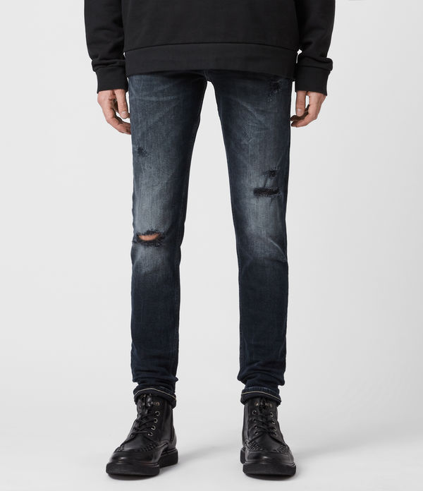 Cigarette Damaged Skinny Jeans, Dark Indigo