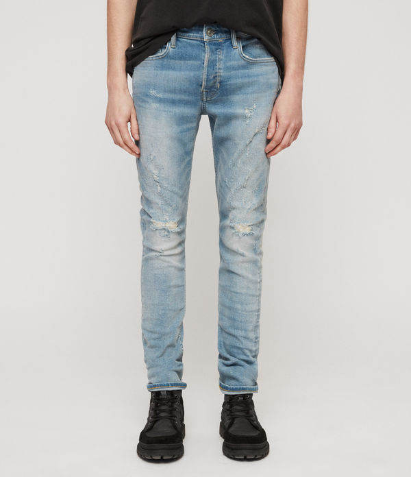 Cigarette Damaged Skinny Jeans, Light Indigo Blue