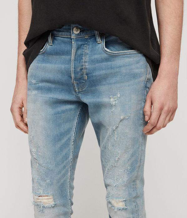 Cigarette Damaged Skinny Jeans, Light Indigo Blue