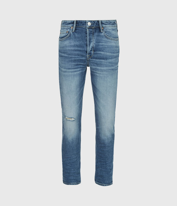 Dean Damaged Cropped Slim Jeans, Light Indigo