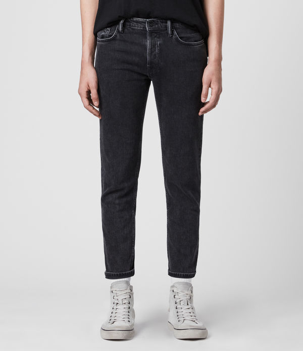 Dean Cropped Slim Jeans, Washed Black
