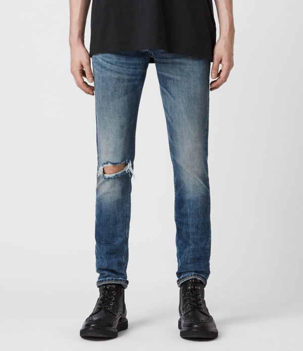 rex damaged slim jeans, mid indigo