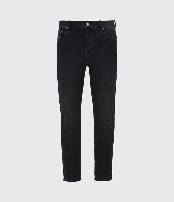 Jack Damaged Straight Jeans, Washed Black