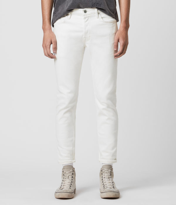 dean cropped slim jeans, white