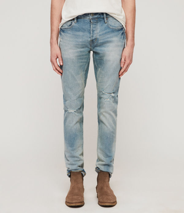 Rex Damaged Slim Jeans, Light Indigo Blue