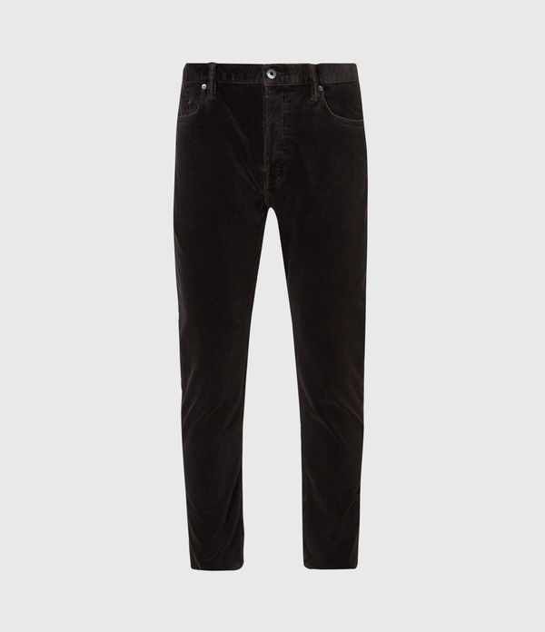 Dean Corduroy Cropped Slim Jeans, Washed Black